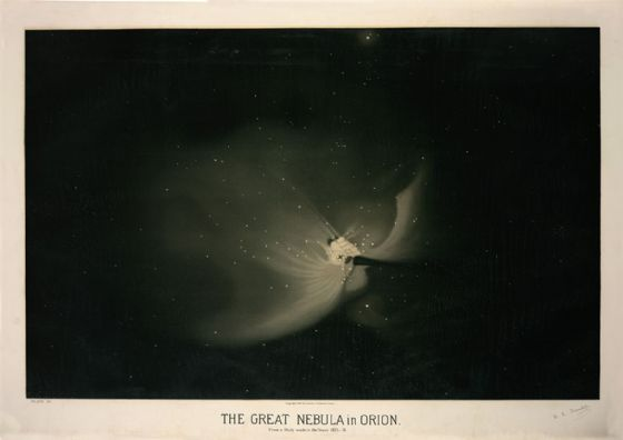 Trouvelot, Etienne Leopold: The Great Nebula in Orion. (The Trouvelot Astronomical Drawings, 1882) Space Print/Poster. Sizes: A1/A2/A3/A4 (00101)